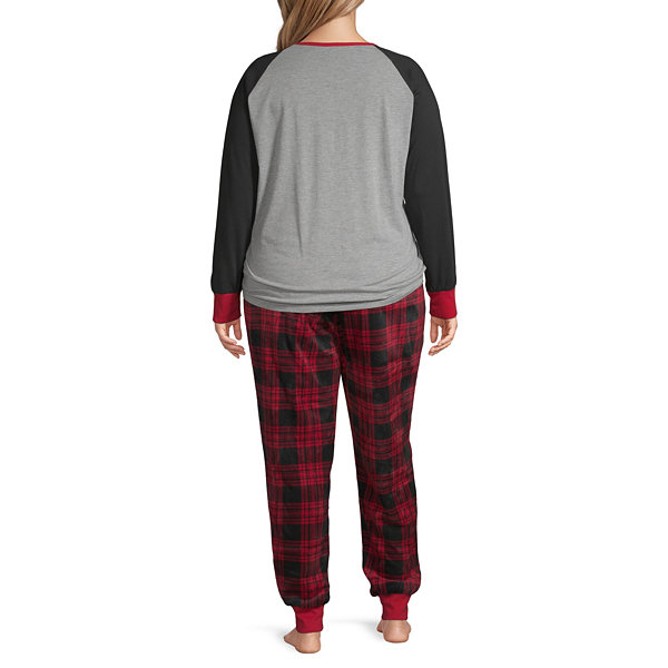 Holiday #Famjams Womens-Plus Pant Pajama Set 2-pc. Long Sleeve