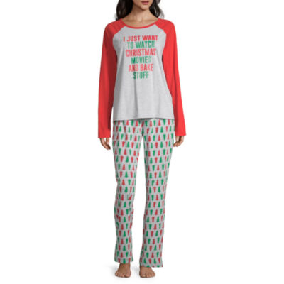 North Pole Trading Co. Christmas Wish Family Womens Pant Pajama Set 2-pc. Long Sleeve