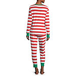 North Pole Trading Co. Red And White Stripe Family Womens Pant Pajama Set 2-pc. Long Sleeve