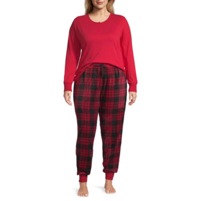 Holiday #Famjams Red Buffalo Womens-Plus Pant Pajama Set 2-pc. Long Sleeve