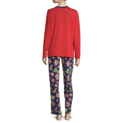 Secret Santa Cookie Family Womens Pant Pajama Set 2-pc. Long Sleeve