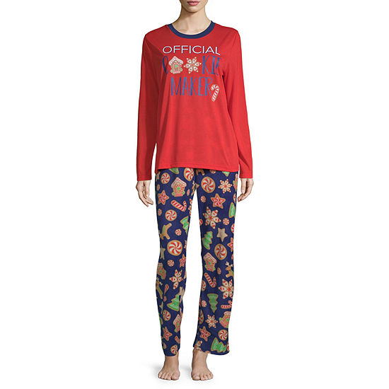 Secret Santa Cookie Family Womens Pant Pajama Set 2-pc. Long Sleeve