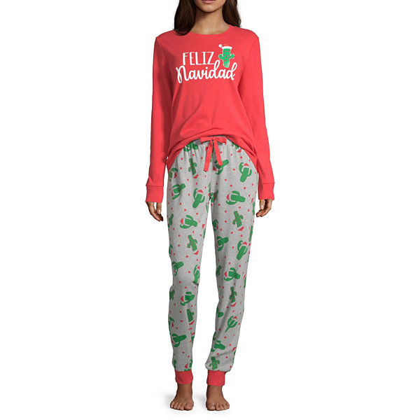 Secret Santa Feliz Navidad Family Womens Pant Pajama Set 2-pc. Long Sleeve