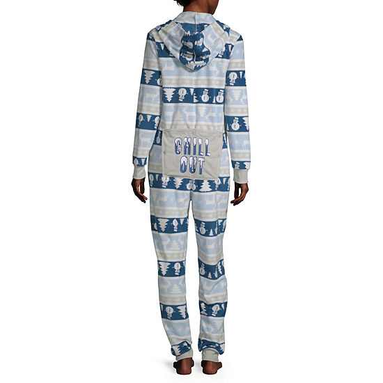 Secret Santa Chill Out Family Womens Microfleece One Piece Pajama Long Sleeve Hooded Neck