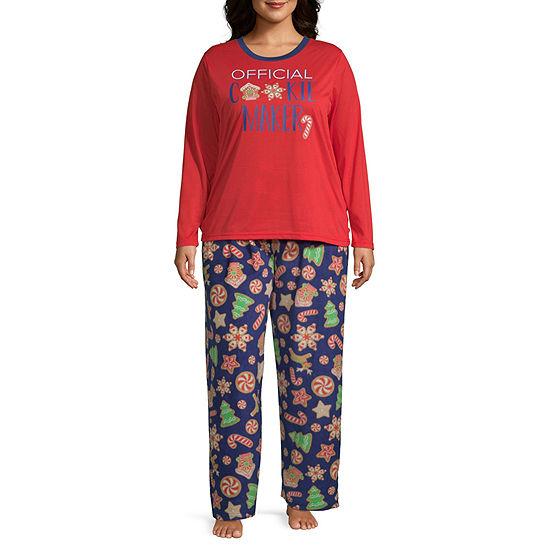 Secret Santa Cookie Family Womens-Plus Pant Pajama Set 2-pc. Long Sleeve
