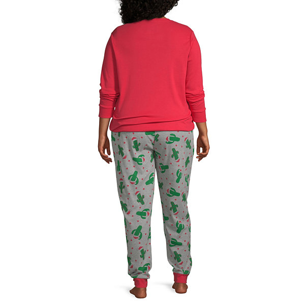 Secret Santa Feliz Navidad Family Womens-Plus Pant Pajama Set 2-pc. Long Sleeve