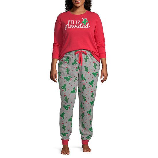 Secret Santa Feliz Navidad Family Womens-Plus Pant Pajama Set 2-pc. Long Sleeve