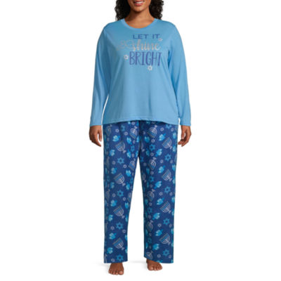 Hanukkah Family Womens-Plus Pant Pajama Set 2-pc. Long Sleeve