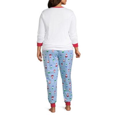 Secret Santa Gnomes Family Womens-Plus Pant Pajama Set 2-pc. Long Sleeve