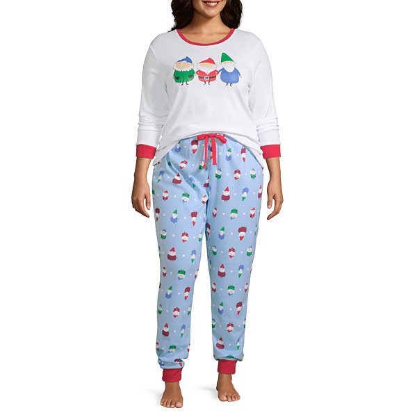 Secret Santa Gnomes Family Womens-Plus Pant Pajama Set 2-pc. Long Sleeve