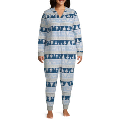Secret Santa Chill Out Family Womens Plus Microfleece One Piece Pajama Long Sleeve Hooded Neck