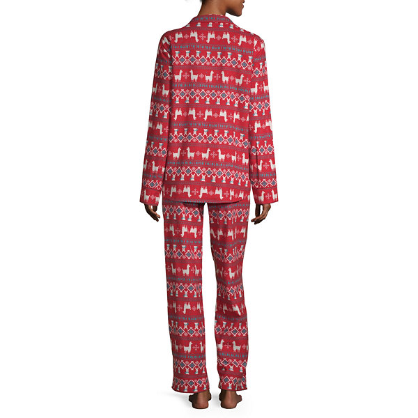 North Pole Trading Co. Llama Family Coat Front Family Womens 2-pc. Long Sleeve Pant Pajama Set