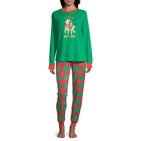 Sleepy Nites Buffalo Check Family Long Sleeve Womens 2-pc. Pant Pajama Set