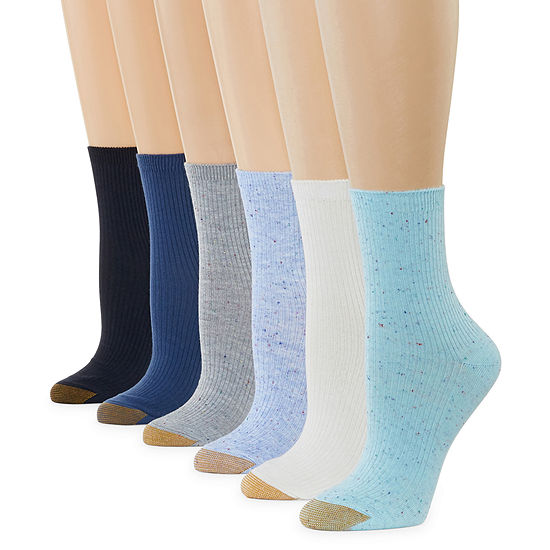 Gold Toe 6 Pair Crew Socks Womens