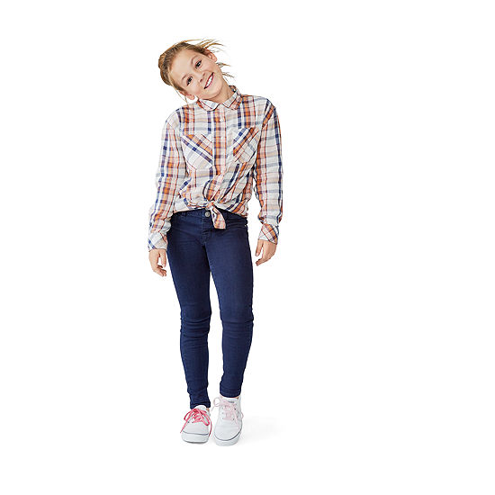 Arizona Girls Button-Front Shirt & Stacked Waist Jegging