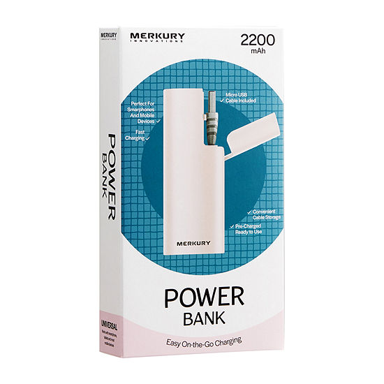 Merkury Innovations 2200 mAh Power Bank with Cord Compartment