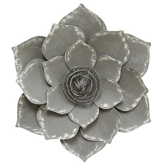 Stratton Home Decor Grey Lotus Wall Decor Floral Metal Wall Art