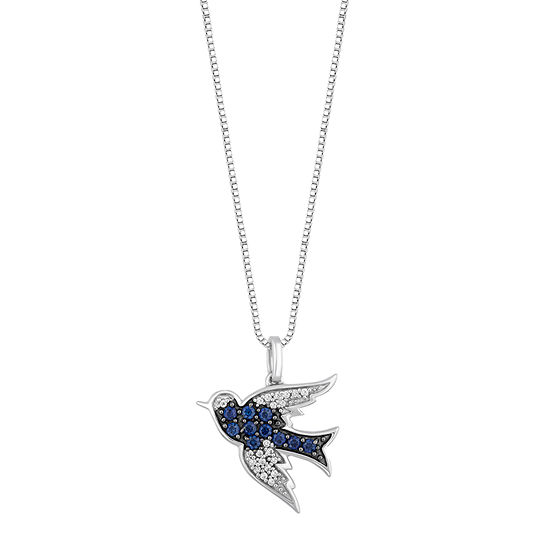 Enchanted Disney Fine Jewelry Womens Diamond Accent Lab Created Blue Sapphire Sterling Silver Cinderella Pendant Necklace