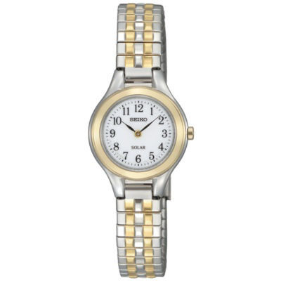 Seiko® Womens Two-Tone Stainless Steel Solar Watch SUP100