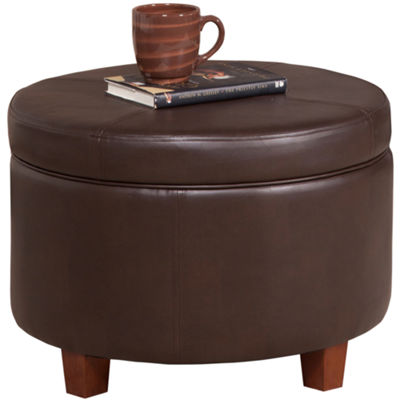 Round Faux-Leather Storage Ottoman