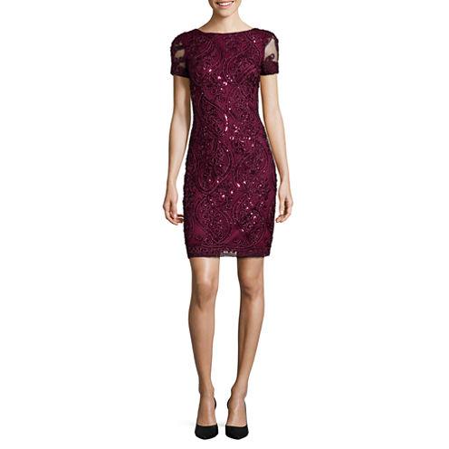 Studio 1® Short-Sleeve Textured Sparkle Sequin Sheath Dress