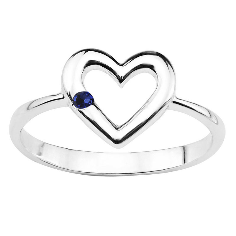 Lab-Created Blue Sapphire Sterling Silver Heart Ring