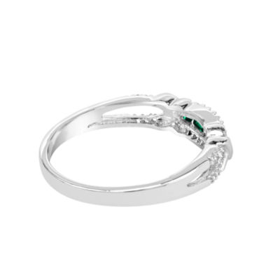 Lab-Created Emerald And Lab-Created White Sapphire Sterling Silver Ring