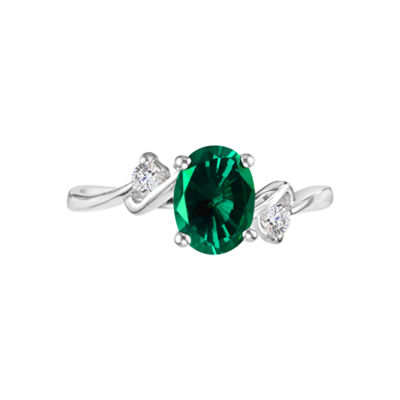 Lab-Created Emerald Gemstone Sterling Silver Ring