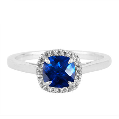 Lab-Created Blue Sapphire Sterling Silver Cushion Halo Ring