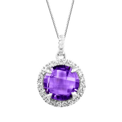 Genuine Amethyst Sterling Silver Cushion Halo Pendant Necklace
