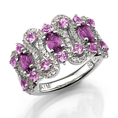 Lab-Created White Sapphire, Purple Amethyst And Pink Amethyst Sterling Silver Ring