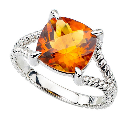 Genuine Madiera Citrine Sterling Silver Checkerboard Cushion Ring
