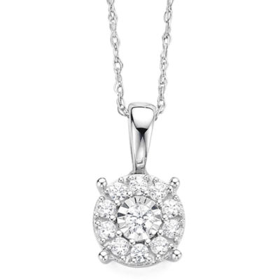 Diamond Blossom 1/5 CT. T.W. Diamond Miracle Plate 10K White Gold Pendant Necklace
