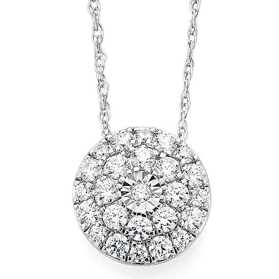 Diamond Blossom 1 2 Ct Tw Diamond 10k White Gold Pendant Necklace