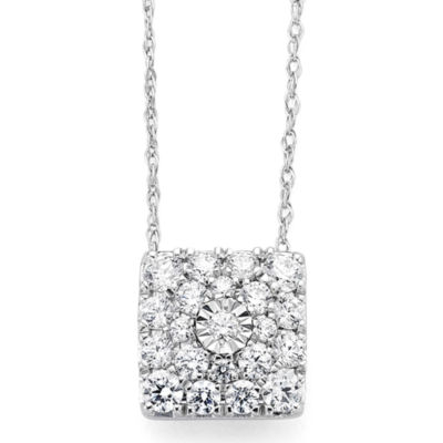 diamond blossom 1/2CT. T.W. Diamond 10K White Gold Pendant Necklace