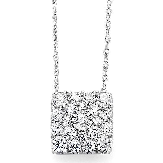 diamond blossom 1/2CT. T.W. Diamond 10K White Gold Pendant Necklace