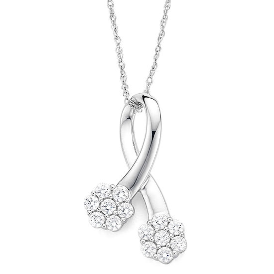 diamond blossom 1/3 CT. T.W. Diamond 10K White Gold Pendant Necklace
