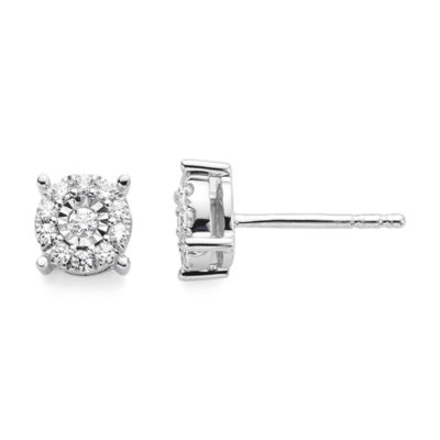 Diamond Blossom 1/5 CT. T.W. Diamond Miracle Plate 10K White Gold Studs
