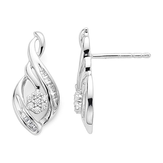 diamond blossom 1/4 CT. T.W. Diamond n Sterling Silver Earrings