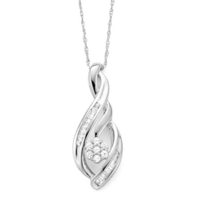 diamond blossom 1/4 CT. T.W. Diamond Sterling Silver Pendant Necklace