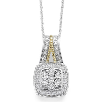 diamond blossom 1/10 CT. T.W. Diamond Miracle Plate Cushion Sterling Silver with 14k Gold over Silver Accent Pendant Necklace