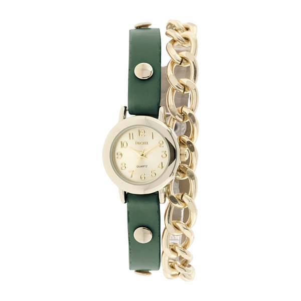 Decree® Womens Teal Strap and Chain-Link Wrap Watch