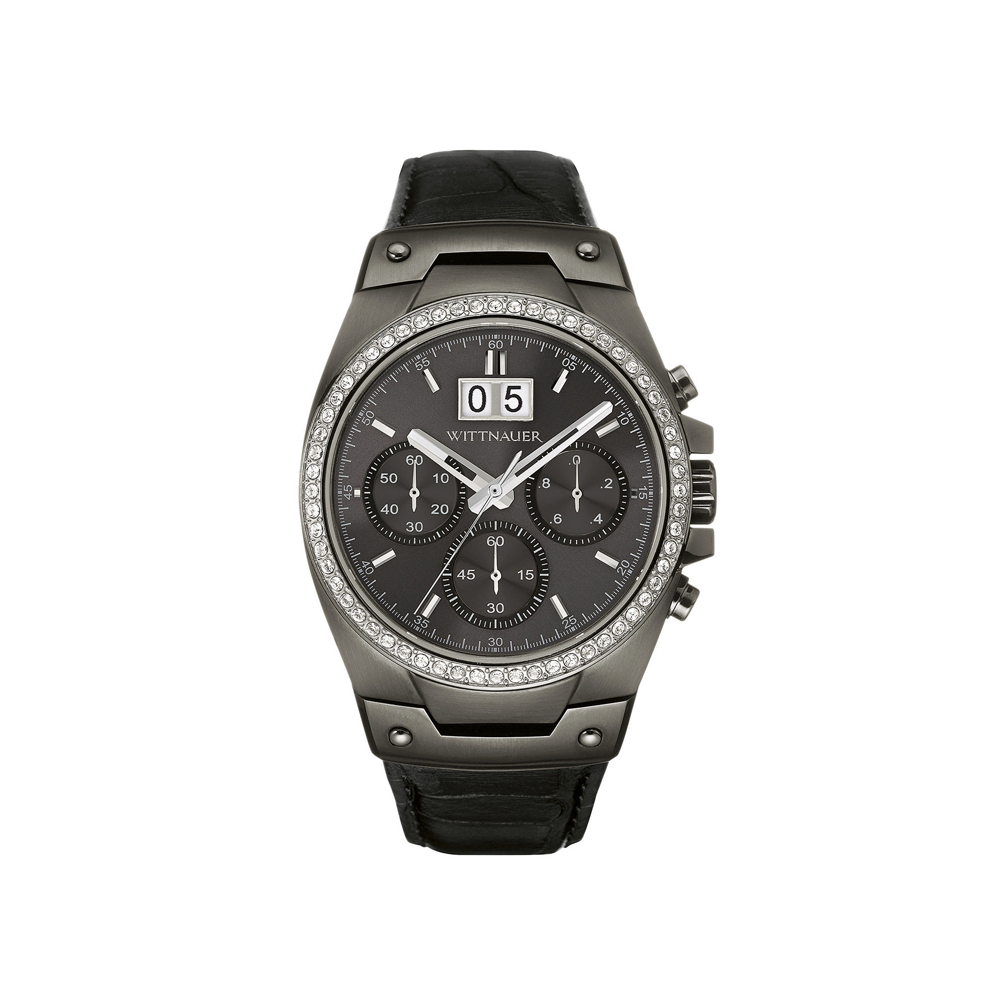 Wittnauer Mens Crystal-Accent Gunmetal Dial Black Leather Strap Watch WN1012