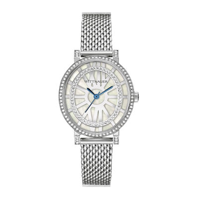 Wittnauer® Womens Crystal-Accent Oval Stainless Steel Mesh Watch WN4038