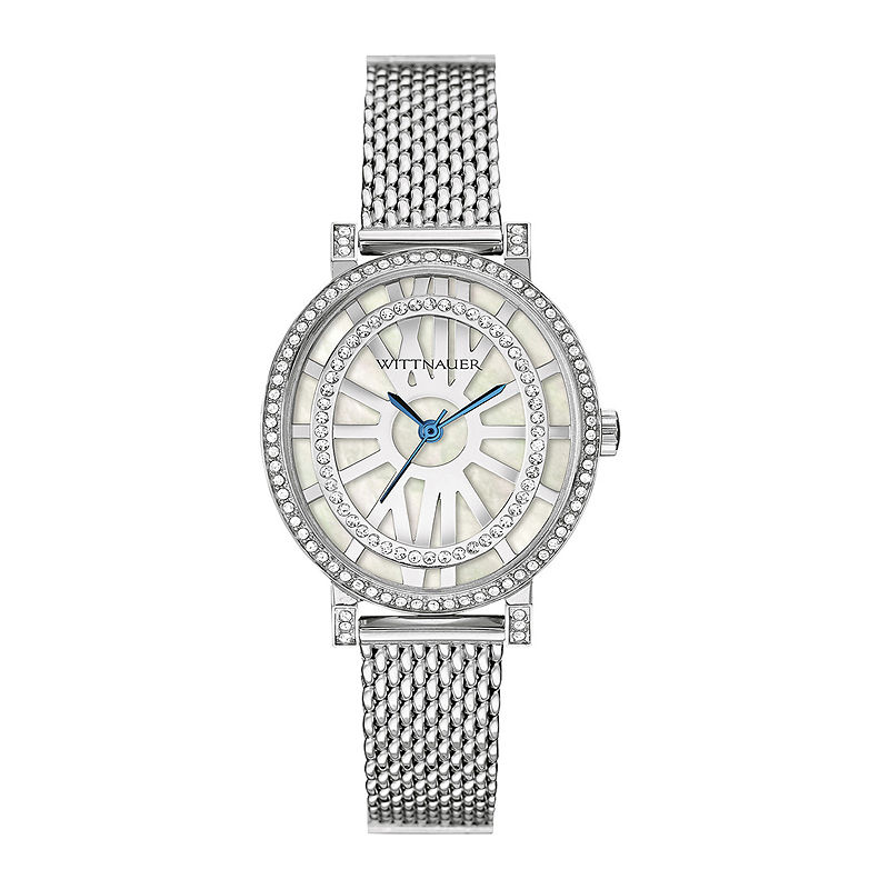 Wittnauer Womens Crystal-Accent Oval Stainless Steel Mesh Watch WN4038