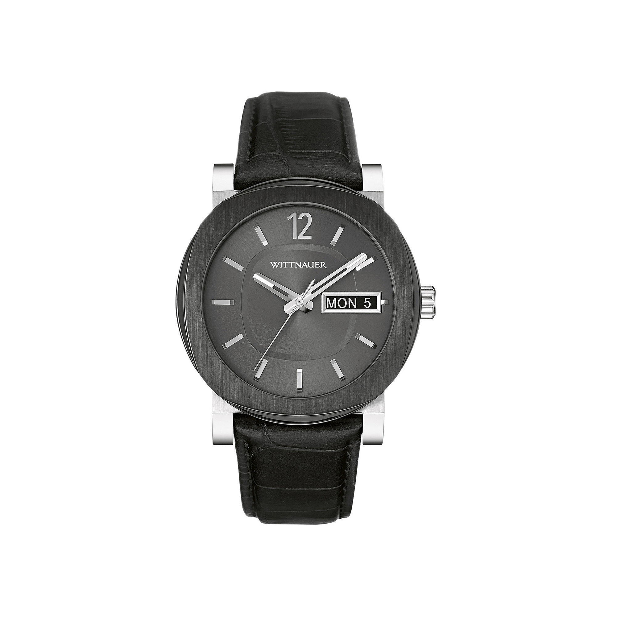 Wittnauer Mens Black Leather Strap Watch WN1000