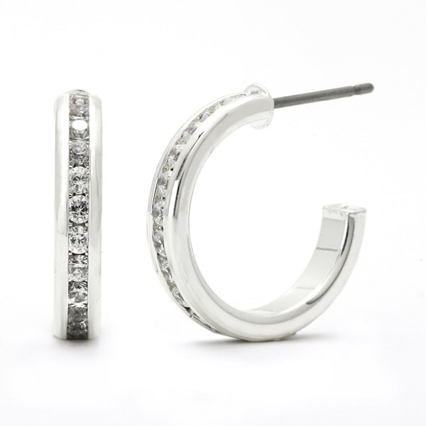 Sparkle Allure™ Cubic Zirconia Silver-Plated 17mm C-Hoop Earrings