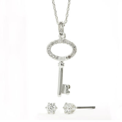 Sparkle Allure™ Cubic Zirconia Silver-Plated Stud Earrings and Key Pendant Necklace Set