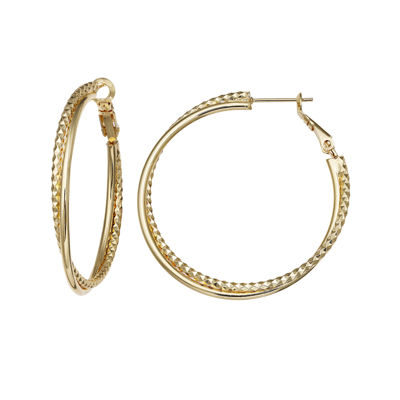 18K Yellow Gold Over Brass Polished and Diamond-Cut 50mm Double-Hoop Earrings