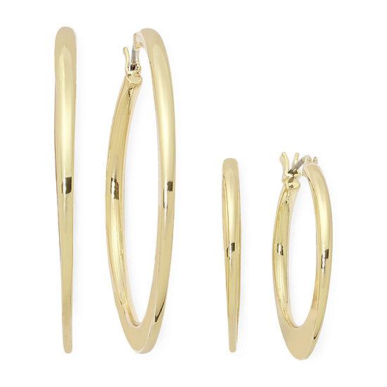 Sensitive Ears Gold-Tone 2-pr. Flat Hoop Earring Set